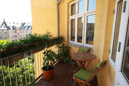 Apt with 2 balconys and garden view - Copenhaga