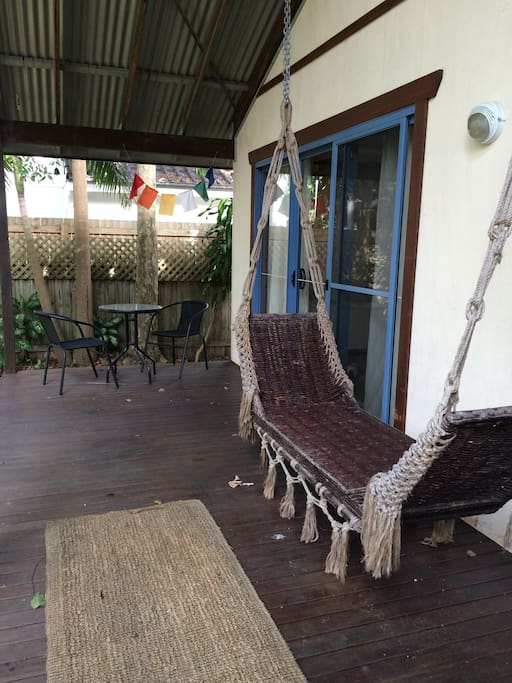 Relax in the 2 hammocks on the deck or sit at the cafe dining seating.