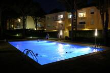 Swimming-pool at night