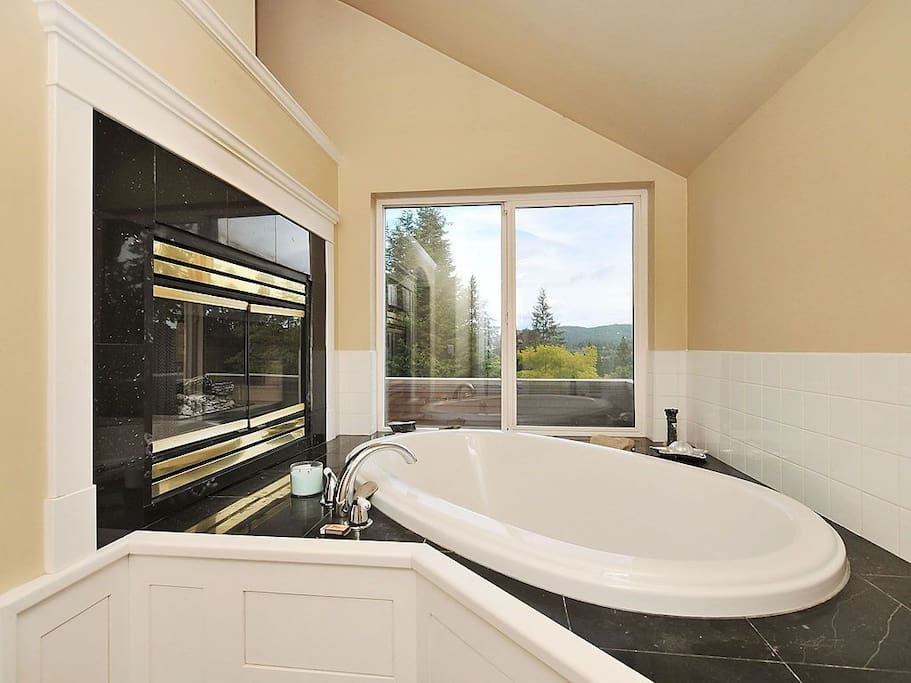 Soaker Tub in Master Bathroom, private on suite bathroom with Shower as well. Two way fire place, lay in bed and watch the fire.