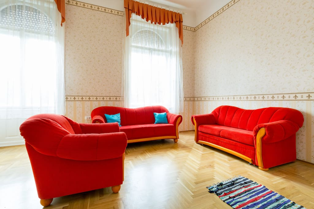 Living room with street view