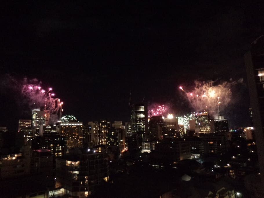 Fireworks over Brisbane City during Riverfire - view from balcony