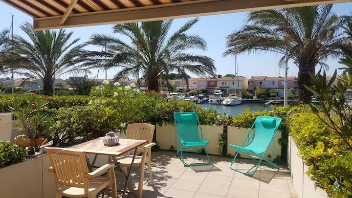 Cap d'Agde,5Pers,Terrasse,Piscine Vue,situé,wifi++