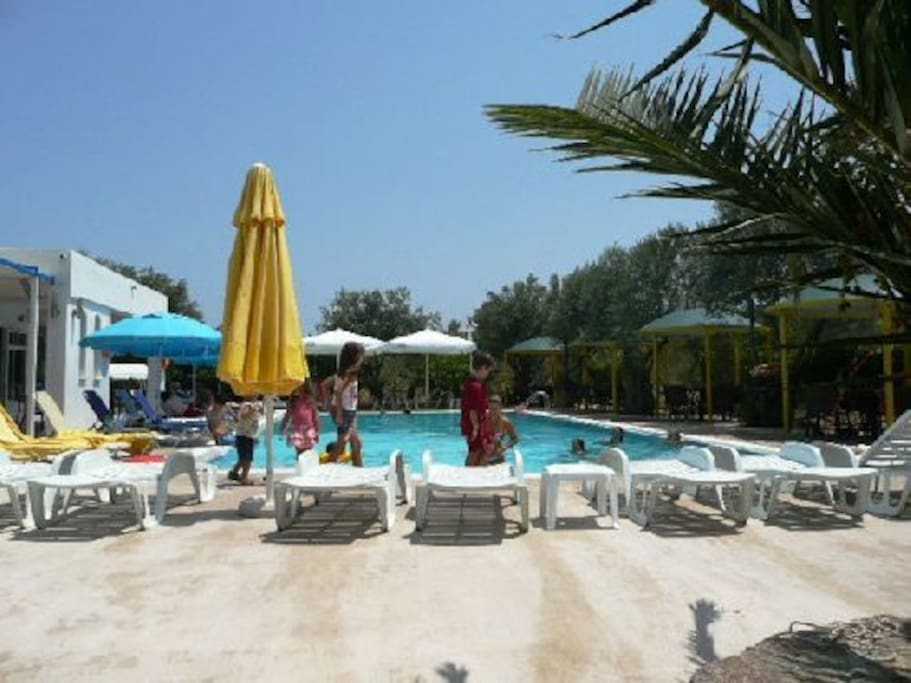 local pool and taverna a few minutes from Olive tree House