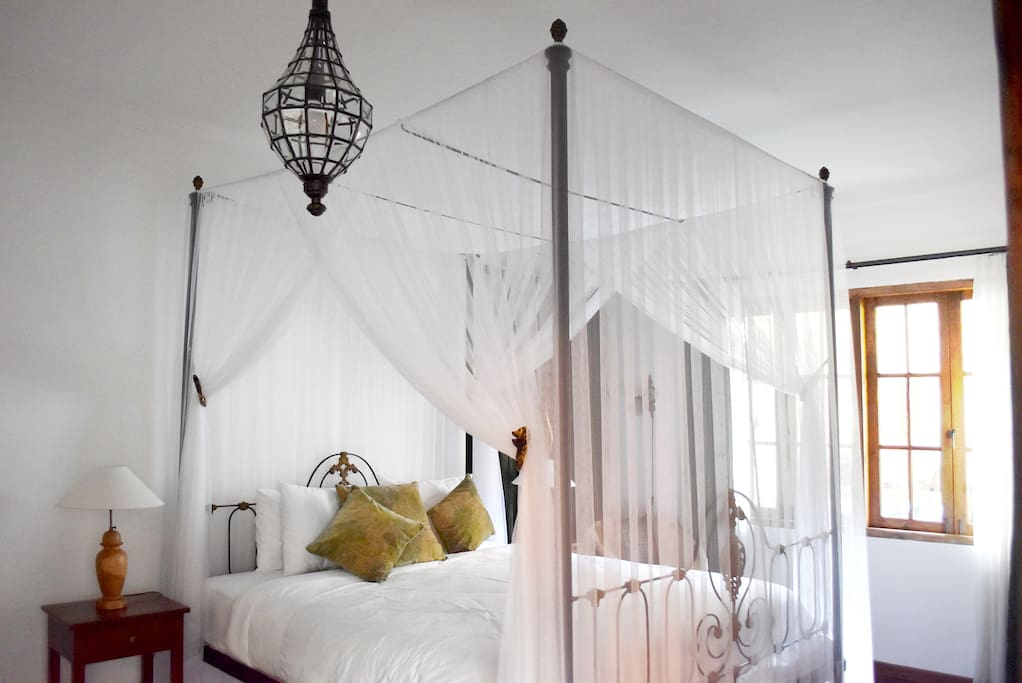 Romantic beds with mosquito nets