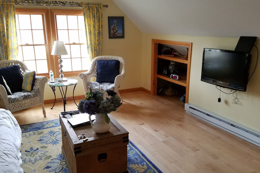 Over the air HD TV with DVD player. Microwave & coffee maker in room.