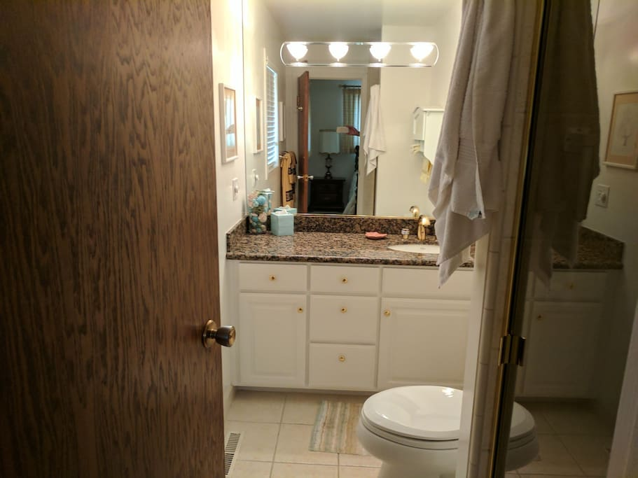 bathroom attached to the king size bed room