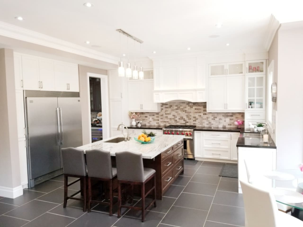 Large designer kitchen with two large sinks