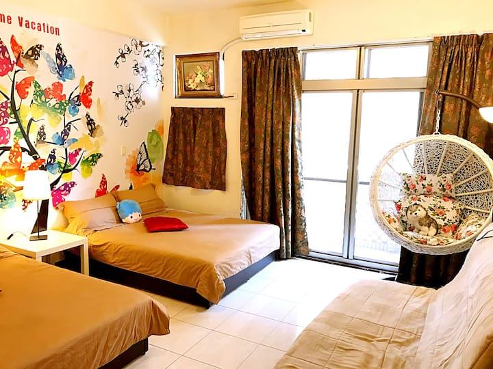 近台南文化中心,夢時代,奇美博物館,市立醫院,最溫馨的旅宿房間,家庭房