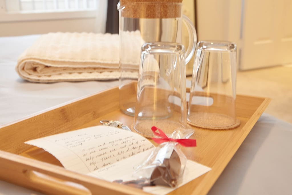 Enjoy a welcome gift upon arrival with a warm note to help your stay go smoothly