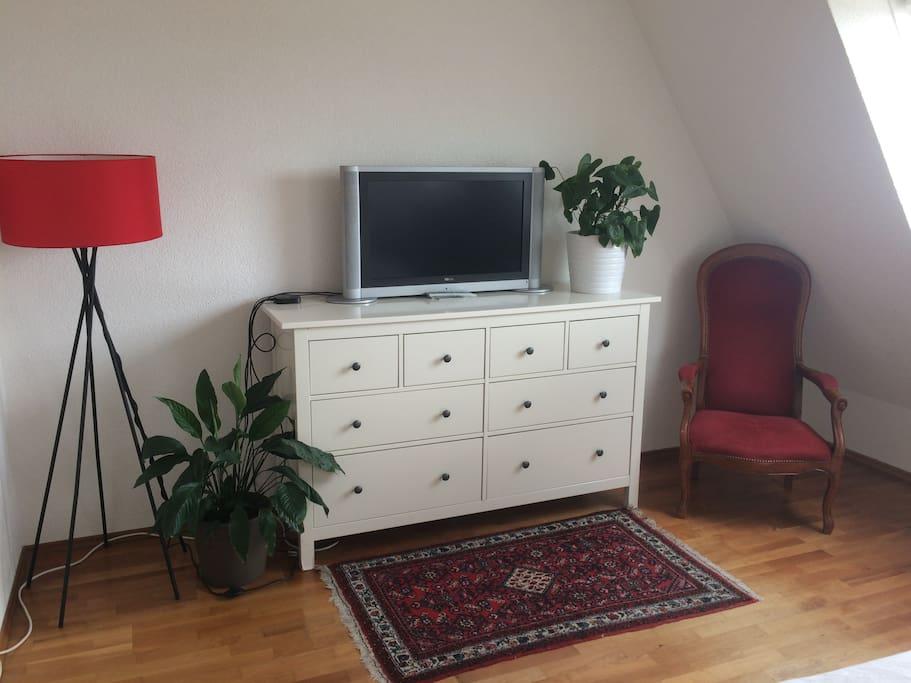 The bedroom + Netflix + Apple TV