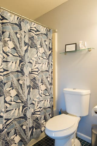 The master bathroom is attached to the bedroom for convenience.
