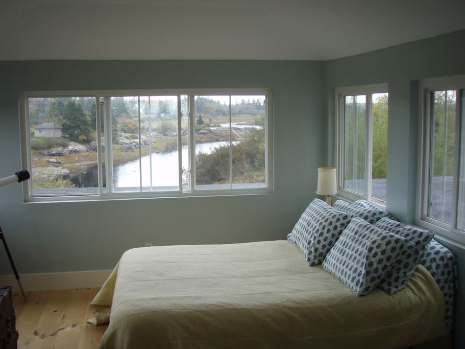 Master Bedroom with Alcove Overlooks Sawyers Cove.  Not shown but include comfy daybed.