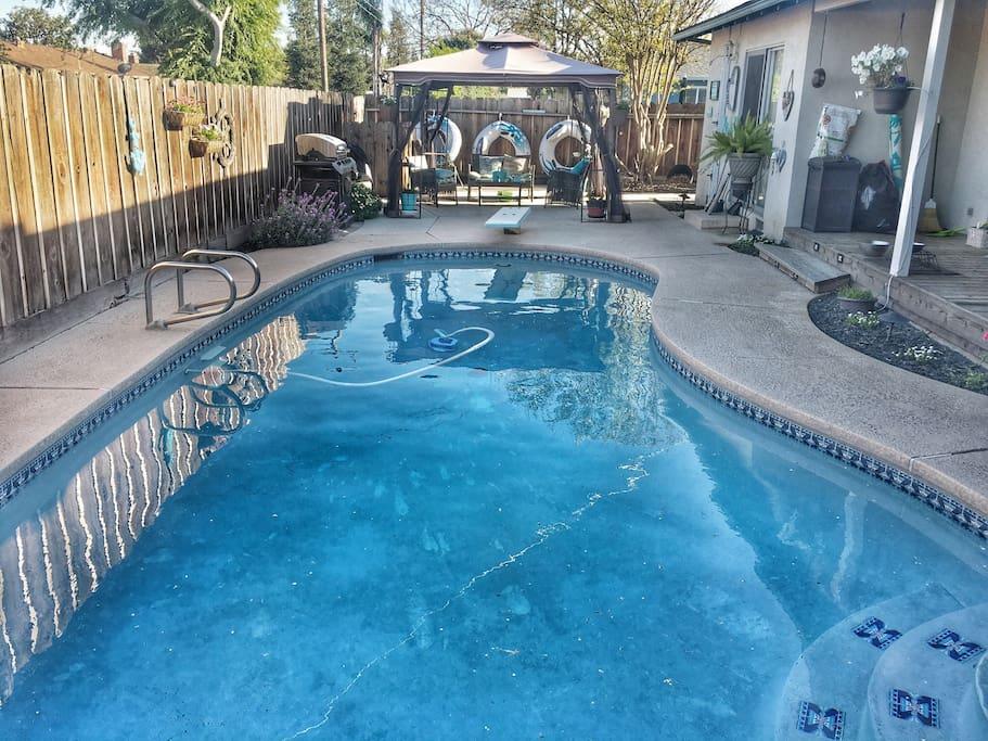 Pool off sliding door.