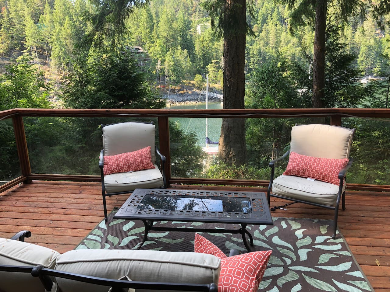 Enjoy beautiful water view on a comfortable spacious deck.