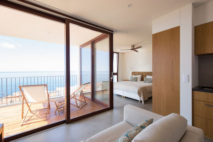 Studio living and sleeping areas