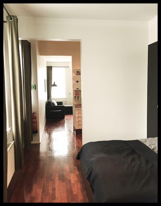 open bedroom kitchen living