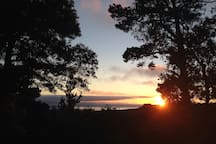 view of sunset over Pacific ocean  from deck