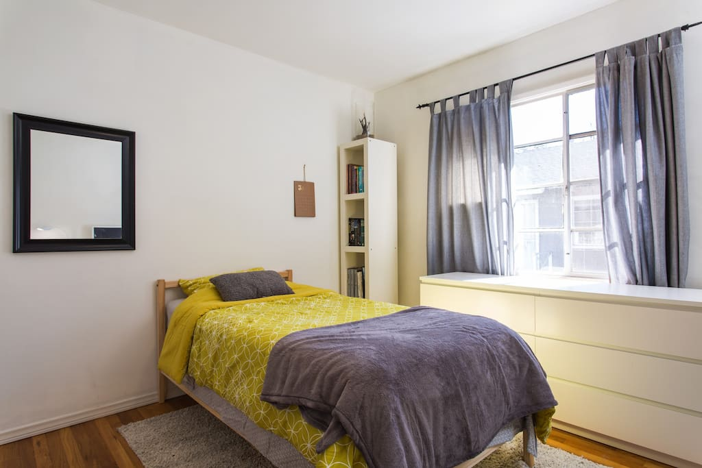 Cozy, clean, comfortable bedroom waiting for you