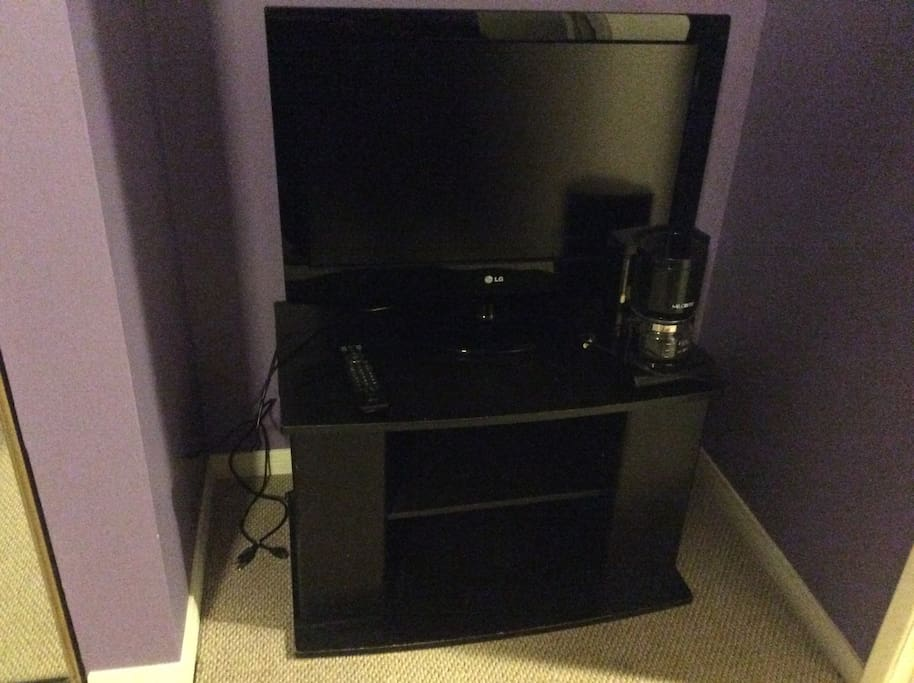 TV, DVD player and coffee maker