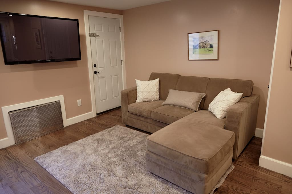 comfortable living room with smart TV