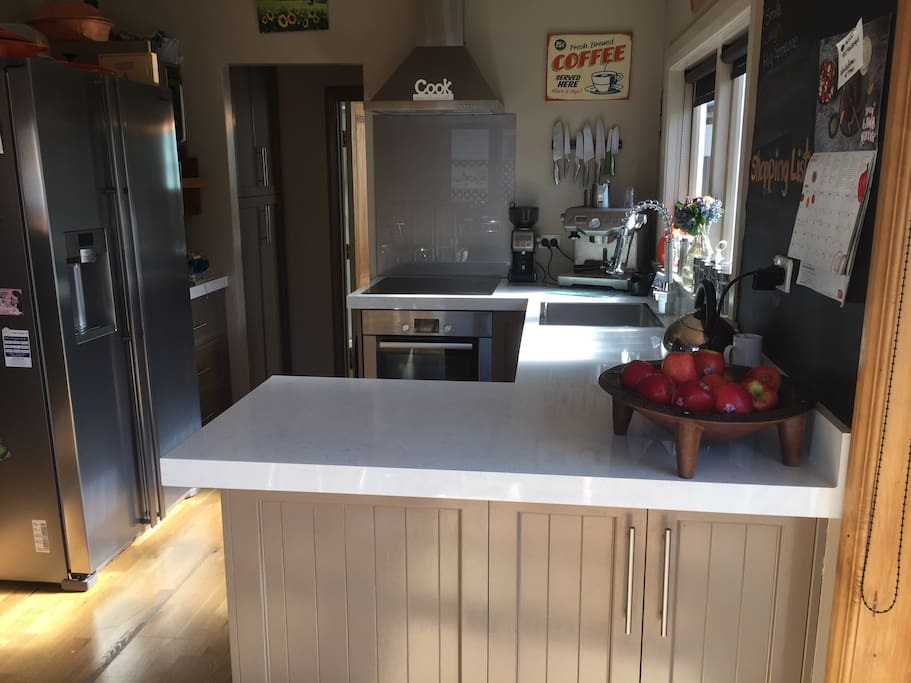 Kitchen, Coffee Machine, double draw dishwasher,fridge with filtered water and ice machine in door