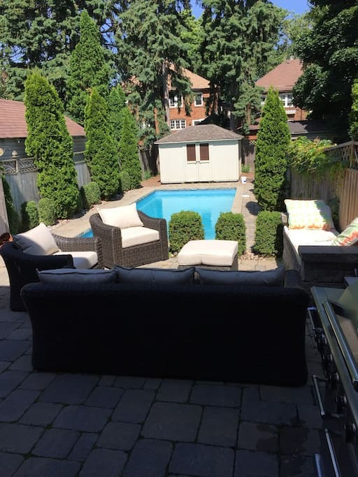 Large pool with comfortable patio seating