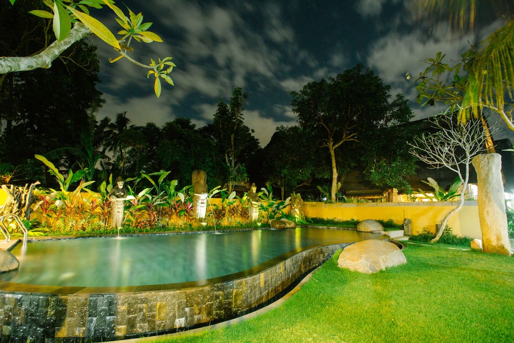 Communal garden and pool area