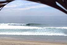 One of the best beach breaks in Baja is just below our Villa. K-58's on a glassy day with no one out.