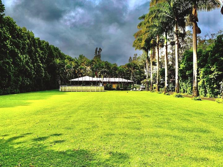 Keaau: Aolani Hale ; Big Lawn , Pool ,Lanai's !