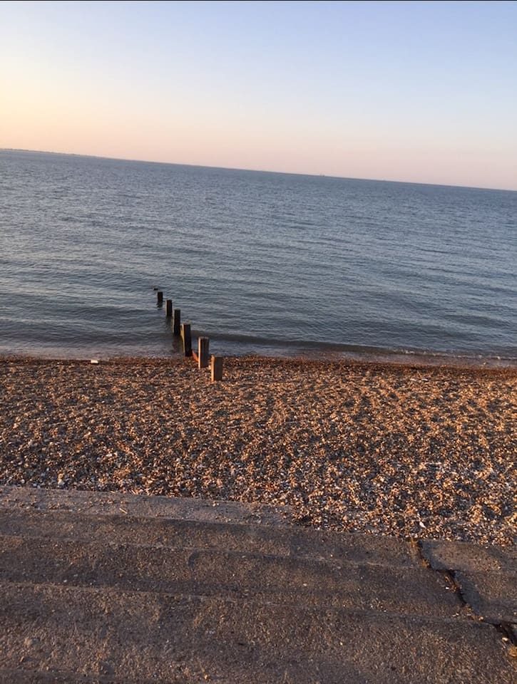 Sheerness beach, awarded a blue flag for the water quality.  Has an arcade, amusements and a large 24 hours Tesco