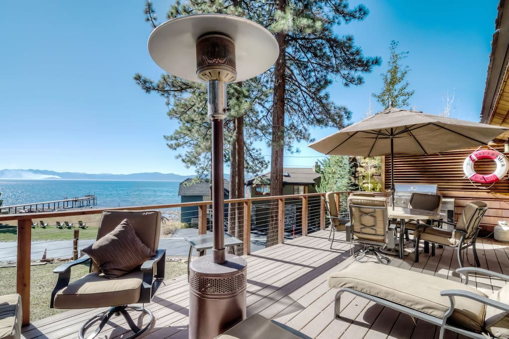 A spacious patio area offers sublime views of Lake Tahoe.