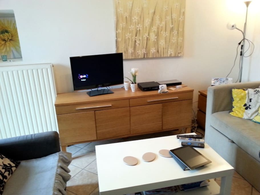 flat screen TV DVD with English channels and free wi-fi Internet access