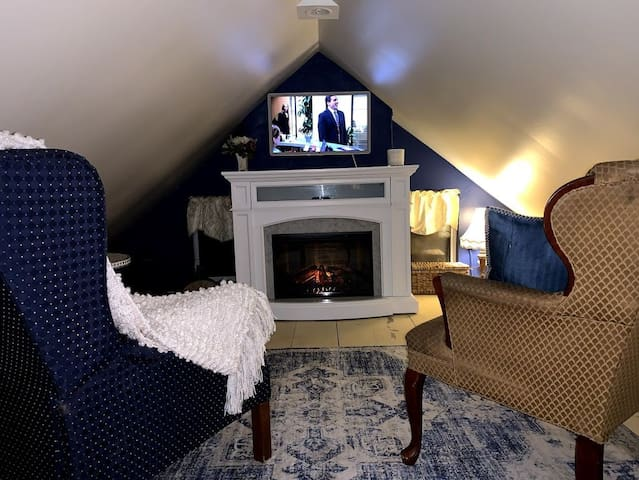 Fireplace with TV, cable, HBO, Netflix