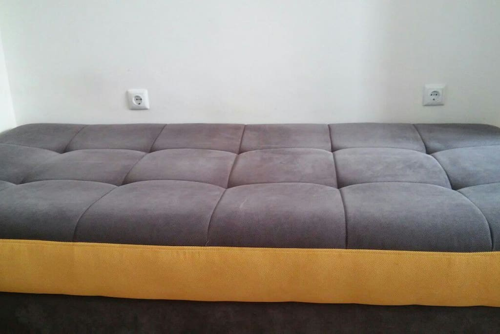 The couch can be made into a comfy bed to crash on