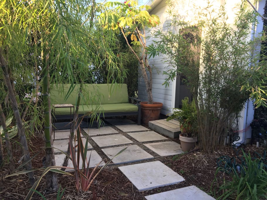 Private patio and entry door