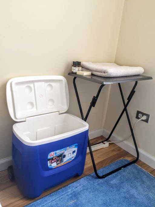Airtight cooler, bedside table and toiletries