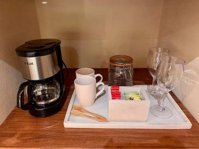Coffee Station / Variety of teas / Bottles of Water