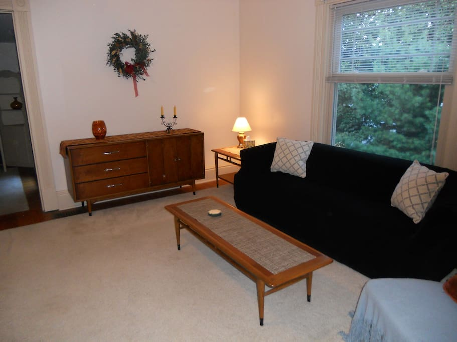 Spacious Living Room with mid-century furniture