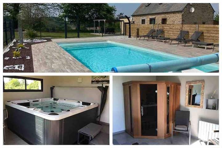 La Miltière, maison avec piscine, spa et sauna