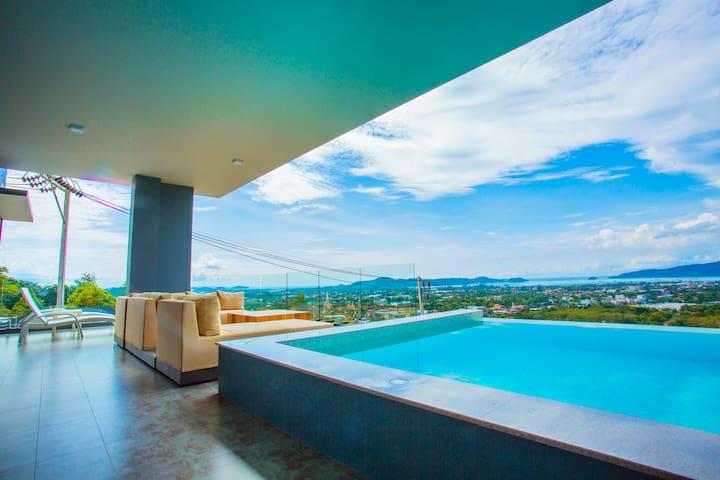 普吉岛E1   三卧室私人无边泳池别墅 轻奢网红 180度海景半山