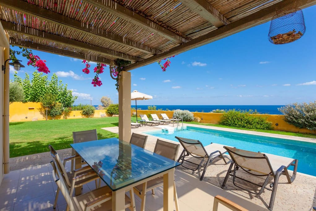 Partially sheltered terrace area with panoramic sea views
