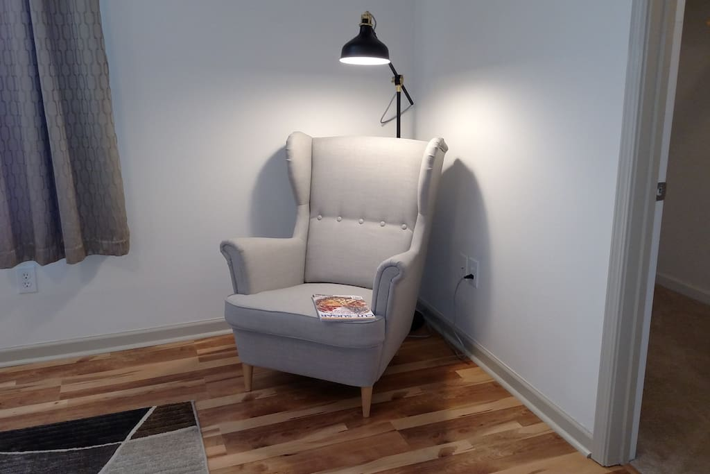 The reading nook in the master bedroom is very inviting.