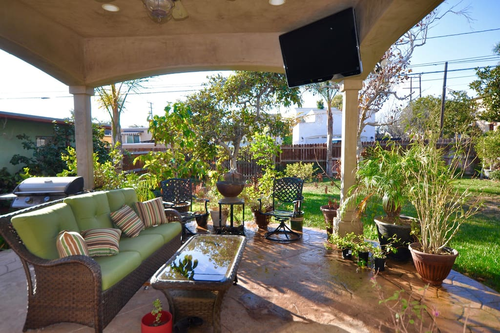 Outdoor Patio and Garden with Flat Screen TV