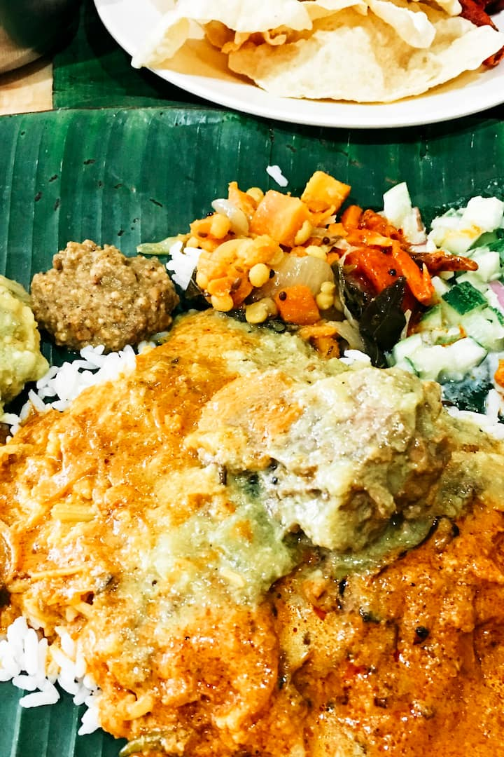 Banana leaf rice, also option for vegans