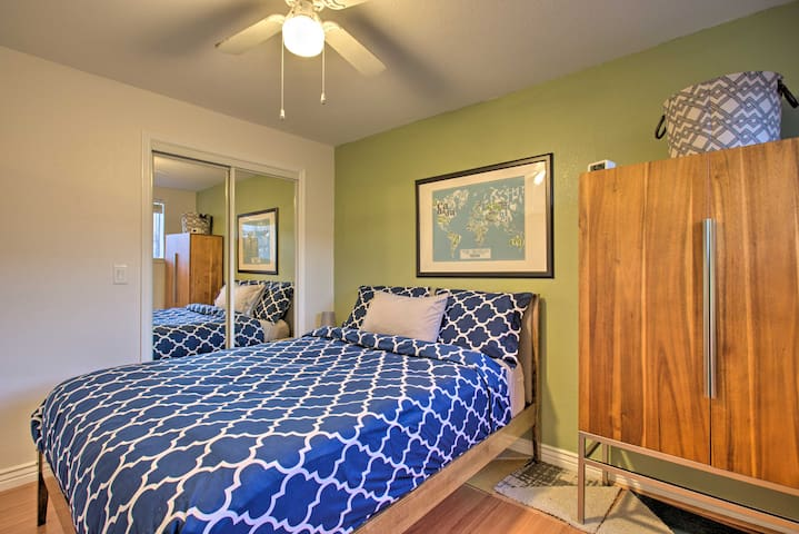 Comfortable queen bed with a wall closet, big enough for two, plus an armoire for extra storage. 2 people can comfortably stay here for months.