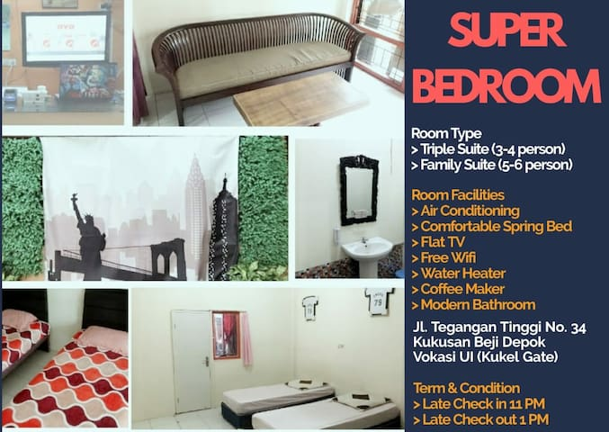 SUPERoom 1 for 3 guest with AC, TV, Sofa, FreeWifi