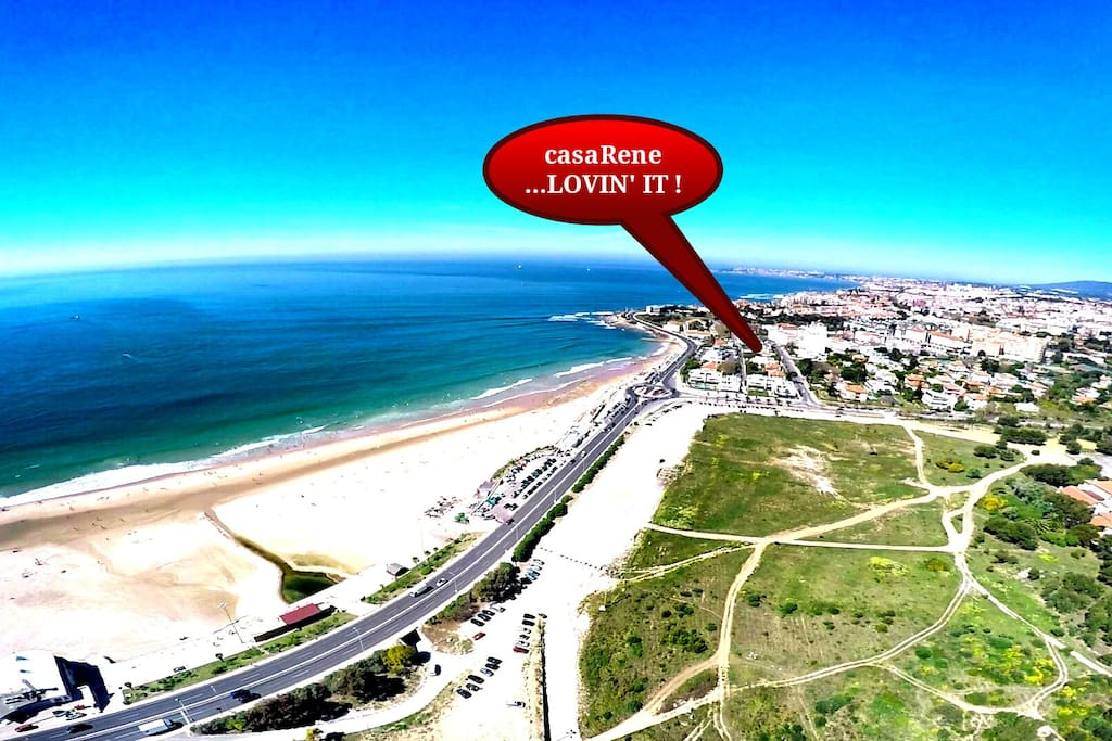 location of casaRene on beautiful Carcavelos beach
