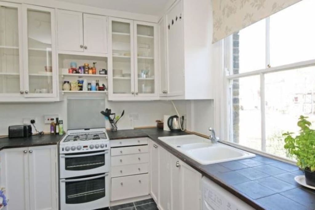 Full use of kitchen, includes toaster, kettle, oven, fridge and washer. Crockery, cutlery provided.