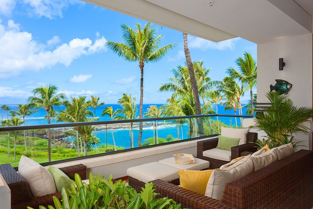 Covered Lanai Sitting and Lounging Area with Panoramic Views From Pools to Ocean